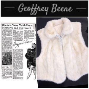 Vintage Geoffrey Beene White Mink Vest Coat L